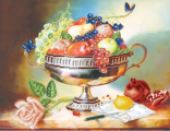 """Канва/ткань с рисунком для вышивания бисером 37х49 см 4042  """"Ваза с фруктами """" ."""