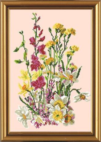Название: Полевые цветы.  Размер:28 х 40 см.Специальная ткань с рисунком для вышивания бисером (габардин), инструкция.