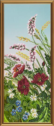 """Канва/ткань с рисунком для вышивания бисером формат А3 2 БИС 3171  """"Летнее разноцветье """" 19х47 см. 0.02."""